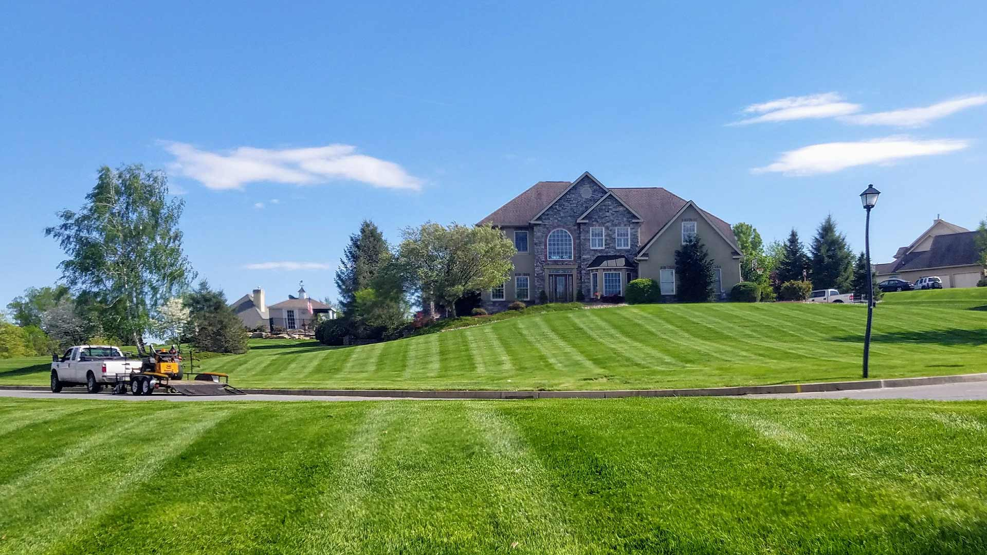Beautiful, healthy home lawn near Macungie, Pennsylvania.