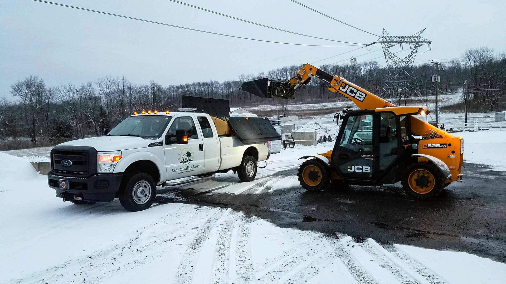 Commercial snow removal services and work truck in Emmaus, PA.