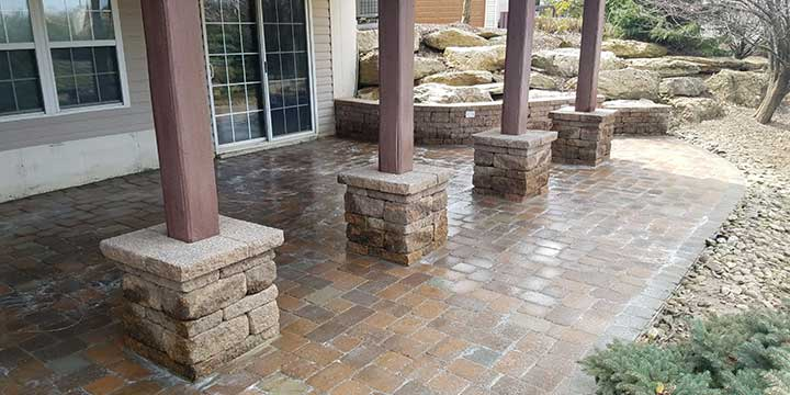Custom patio design and construction at a home in Macungie, Pennsylvania.