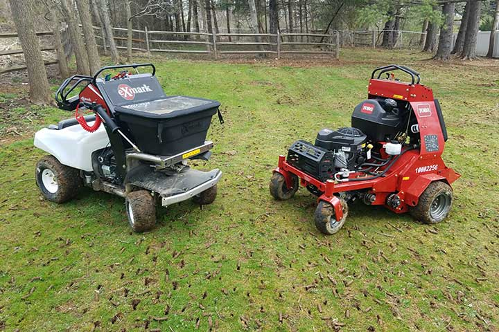 Lawn aeration equipment at a home in Orefield, Pennsylvania.